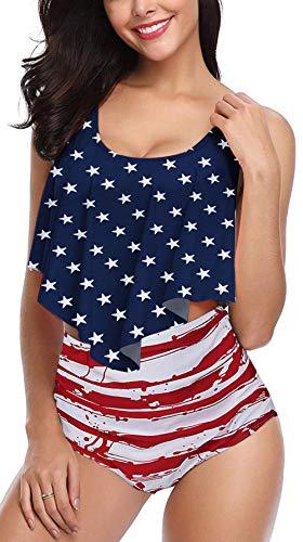 (Angerella American Flag Bikini High Waisted Swimsuit for Women USA Bathing Suit Blue,2XL)