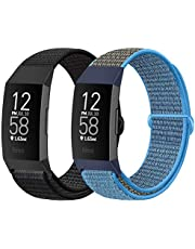AVOD Nylon Loop Watch Bands Compatible with Fitbit Charge 4/Charge 3/SE, Soft Replacement Wristband Breathable Sport Strap with Band for Women Men