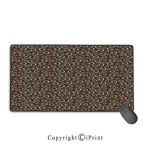 Extended Mousepad with Durable Stitched Edges,Brown and Blue,Circular Pattern Abstract Oval Shapes Illustration Ornament Art Design,Brown Pale Blue,Suitable for laptops, computers, PCs, keyboards,9.8