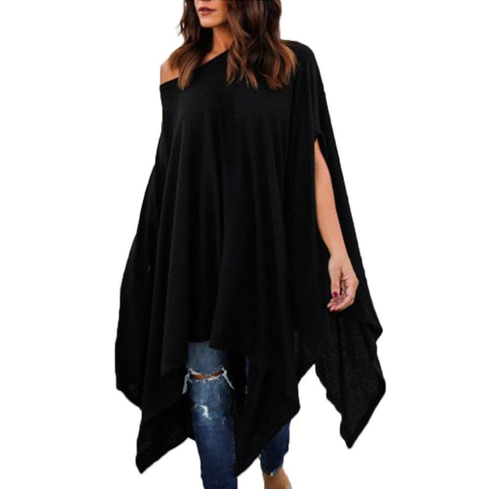 Women Long Sleeve Shirts Plus Size Batwing Sleeve Tops Casual Blouse Irregular Tunic T-Shirt