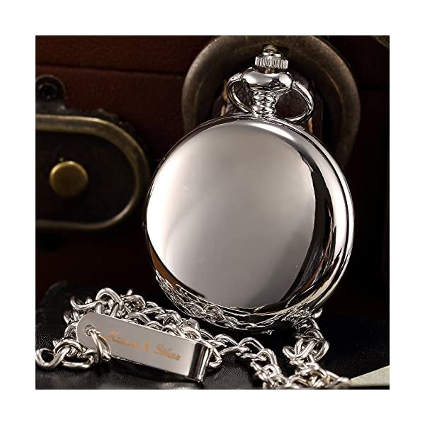 KS Steampunk Mechanical Silver Smooth Case Roman Numbers Pocket Watch with Chain KSP033