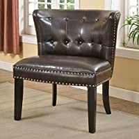 Best Master Furniture Regal Tufted Faux Leather Accent Chair (Set of 2), Medium, Espresso