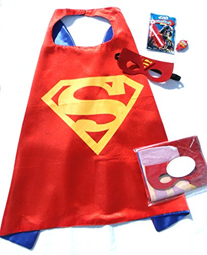 Superman Products : Three Piece Superhero Cape & Mask Sets with bonus prize for Pretend Play, Dress Up, & Parties by Color-N-Splash (Superman/Supergirl RED)