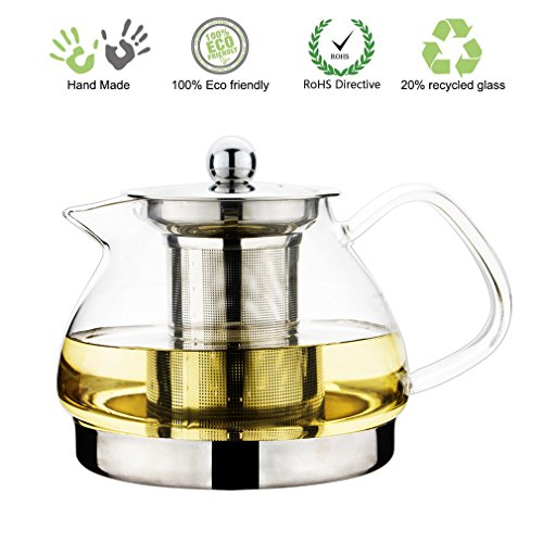 Toyo Hofu Heat Resistant Borosilicate Glass Tea Pot with Strainer Induction Kettle,Clear Stainless Steel Teapots with lids,27 Ounce/800ml