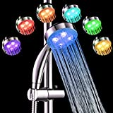 7TECH LED Shower Head 9.3' Water Heater Temperature Controlled 7 Colors Changing No Battery Needed Bathroom Use