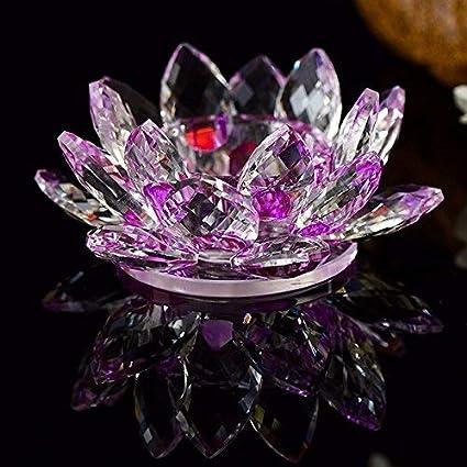 idreamtrader Photophore en cristal en forme de fleur de lotus pour bougie chauffe-plat avec bo/îte cadeau rose