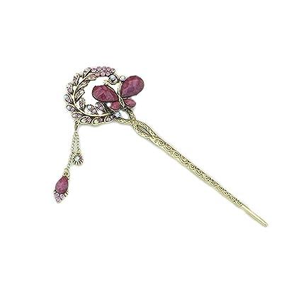 Bobury Clip de la mariposa de cristal mujeres vintage de las muchachas del  pelo de la horquilla de la hoja palillos del palillo con la cadena borla   ... 8c77efc4808f