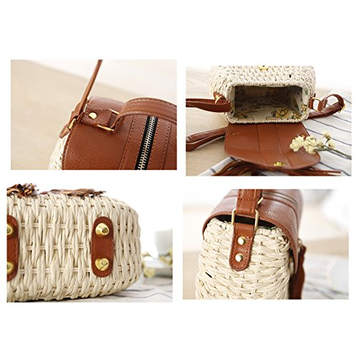Straw Paper Bag Fresh Woven Bag Holiday Beach Small Rope Woven White Bag Bag Oblique Shoulder fT4qwf