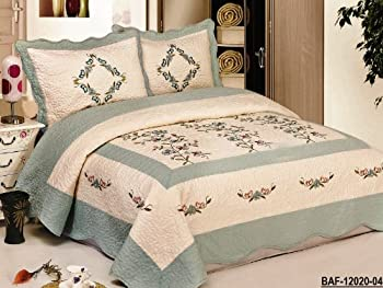 """3pc Nice Design 102x94"""" Beige / Aqua Blue Fully Quilted Embroidery Bedspread Coverlets Bed Cover Pillow Sham Set"""