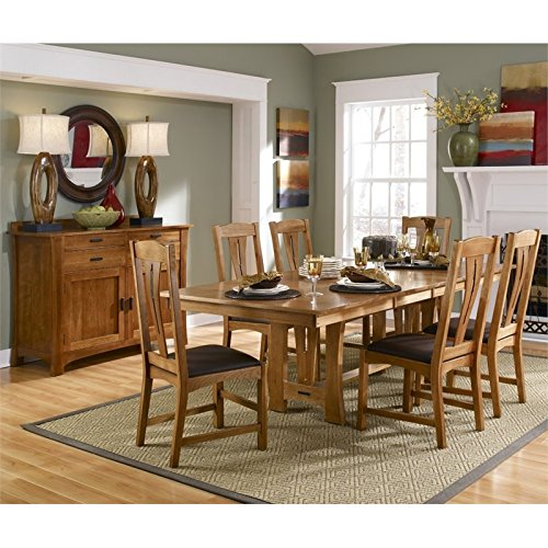 A-America Cattail Bungalow 8 Piece Extendable Dining Set in Warm Amber
