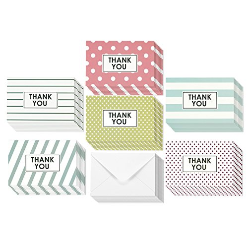 Thank You Cards - Greeting Cards - 6 Colorful Striped & Polka Dot Pastel Designs (Pink, Purple, Blue and more!) - Bulk Box Set - Blank Inside - Includes 48 Cards and Envelopes - 4 x 6 inches