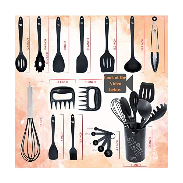Kitchen Utensil Set With Holder - Silicone Kitchen Utensils - Cooking Utensils - Utensil Set - Silicone Cooking Utensils… 2
