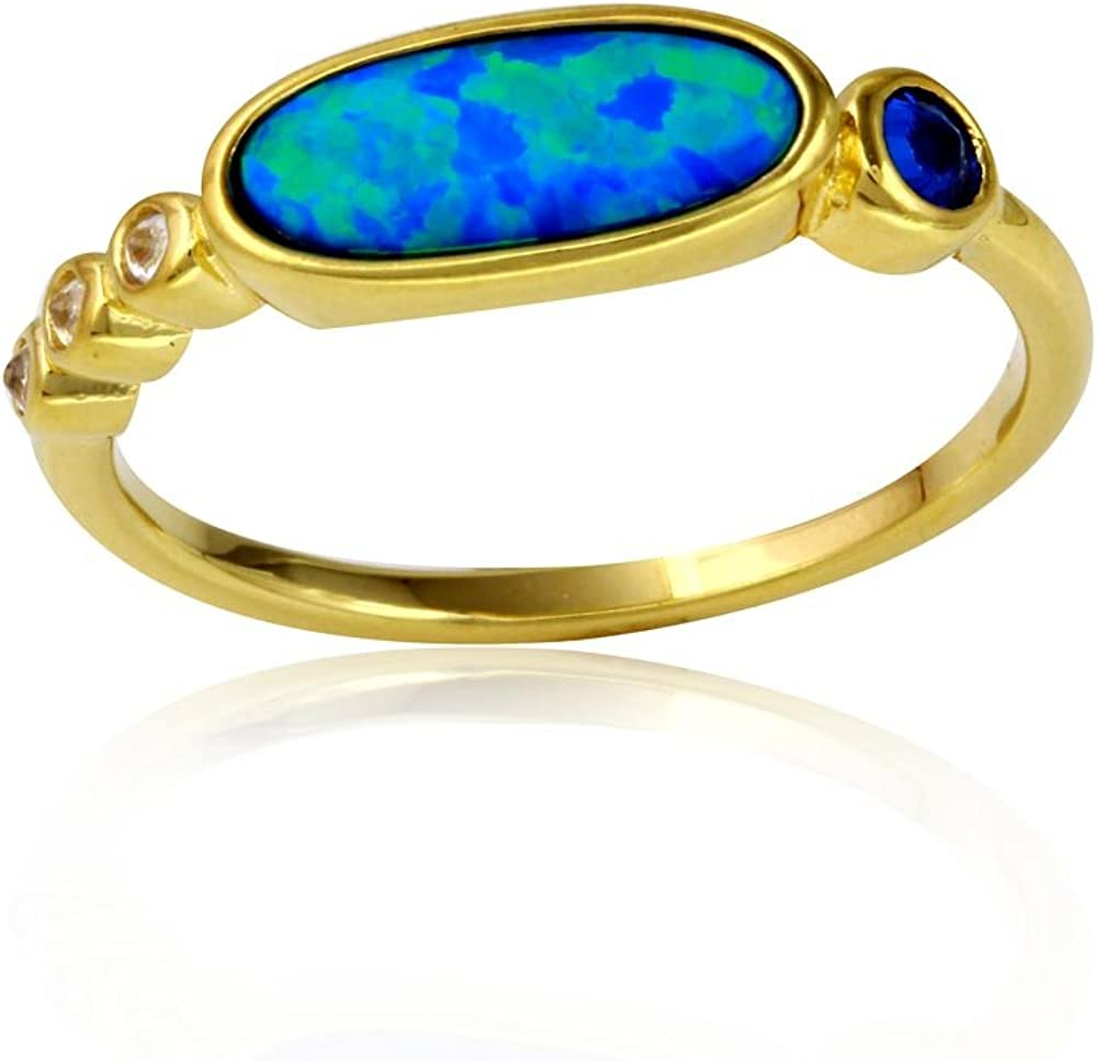 Princess Kylie Synthetic Blue Opal Clear Cubic Zirconia Oval Ring Sterling Silver