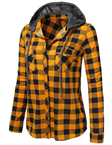 Flannel Check Big (H2H Womens Casual Flannel Plaid Checker Button Down Roll Up and Long Sleeves Shirt Top MUSTARDNAVY US M/Asia M (AWTSTL0473))