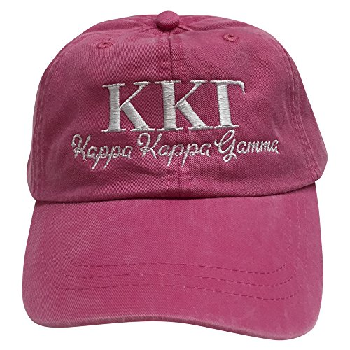 Kappa Kappa Gamma (S) Hot Pink Designer Sorority Baseball Hat Greek Letter Sports Cap with White Thread One Size Adjustable Strap