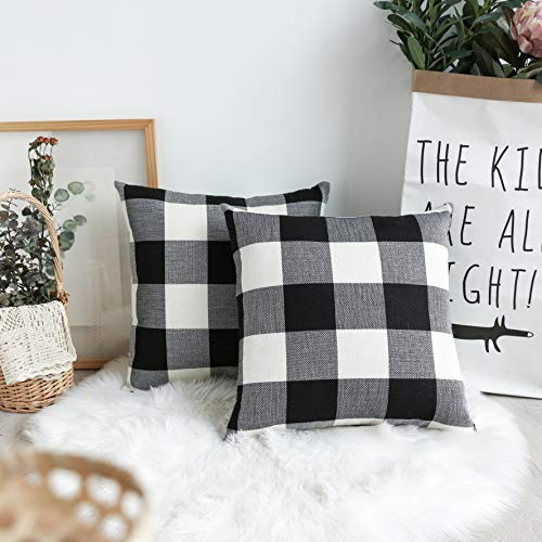 Pillow Checkered (UGASA Decorative Square Throw Pillow Covers 2 Tone Big Checkered Cushion Case for Sofa/Bedroom/Car, Set of 2, 18x18 Inch, Black White)