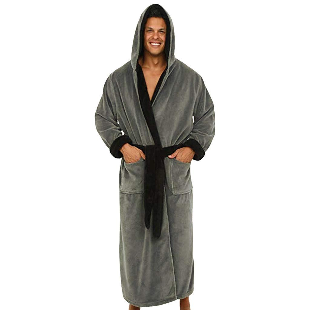 Hot Sale Men's Bathrobe Bath Robe Plus Size Loungewear Winter Sleep Bottoms Pajama Set Nightwear YOcheerful