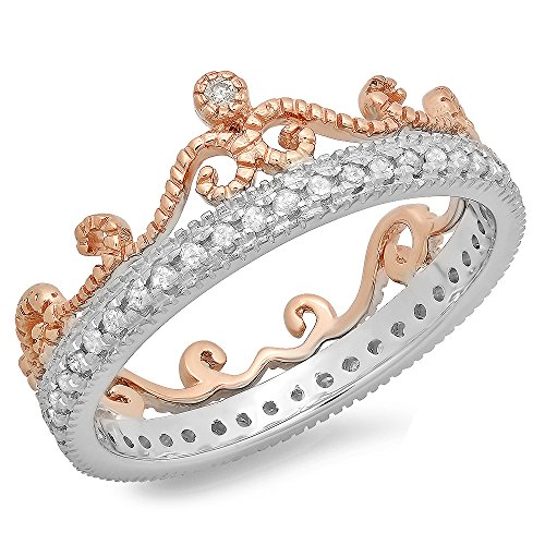 Dazzlingrock Collection 0.33 Carat (ctw) 10K Two Tone Gold Round Diamond Bridal Crown Anniversary Eternity Ring 1/3 CT, Size 8 ()