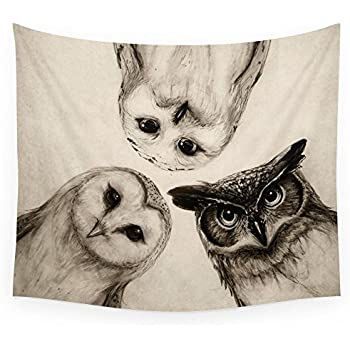 """Society6 The Owl's 3 Wall Tapestry Small: 51"""" x 60"""""""