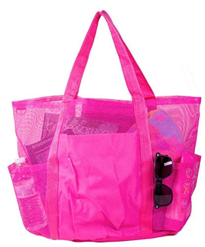 EZ Travel X-Large Carryall Mesh Family Beach Gym Bag Tote (Pink) -
