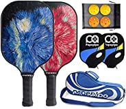 Papepipo Pickleball Paddle Set of 2, Premium Rackets Graphite Carbon Fiber Face & Polypro Honeycomb Compos