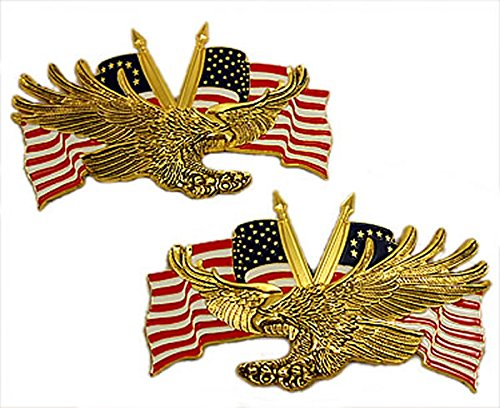 Barracuda Right/Left Screaming Eagle with colonial and US Flag emblem set,