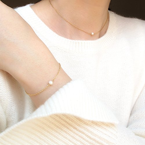 BENIQUE Dainty Necklace Choker for Women - Freshwater Cultured Pearl, Fine Chain for Layering, AAA Cubic Zirconia Drop, 14K Gold Filled, Made in USA, 13''+3'' Adjustable Ext. (Tiny Single Pearl) by BENIQUE (Image #4)