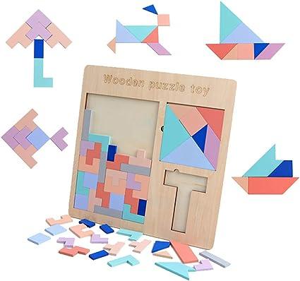 WOQOOK Juego de mesa de madera 3 en 1, puzle de tetris de tetris de tanza, juguete de aprendizaje para niños: Amazon.es: Oficina y papelería