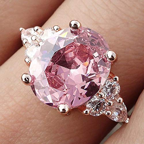 Ploymanee Jewelry 3.3CT Pink Sapphire Birthstone Wedding Silver Vintage Jewelry Ring Size 6-10 7