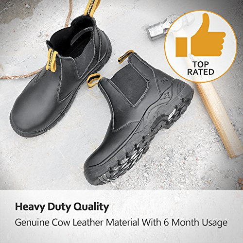 0572124f6682 SAFETOE Women Work Boots Steel Toe Shoes- M8025 Black Men Wide Fit Leather  Waterproof Slip Resistant Safety Shoes