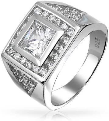 Geometric 6CT Princess Cut AAA CZ Mens Engagement Ring Cubic Zirconia Pave CZ Triangle Wedding Band For Men
