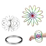 Magic Flow Rings, Kinetic Rings Toy Fidget Slinky 3D Spring Toy Sculpture Ring Game Toy Rainbow and Silver 2-Pack for Kids Boys and Girl, Rave Accessories, Festival Accessories