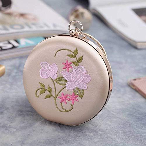 Exp mano donna borsa fiore festa con piccola ricamo Albicocca frizione sera ovale da diamanti poliestere 1295 Rotonda rotonda abito 6pwRfTq11