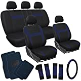 OxGord 21pc Black & Blue Flat Cloth Seat Cover and Carpet Floor Mat Set for the Car Pick-Up Truck SUV Van Sedan Hatchback , Airbag Compatible, Split Bench, Steering Wheel Cover Included