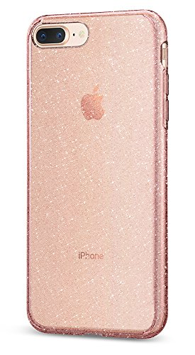 (Spigen Liquid Crystal [2nd Generation] Designed for Apple iPhone 8 Plus Case (2017) / Designed for iPhone 7 Plus Case (2016) - Glitter Rose Quartz)