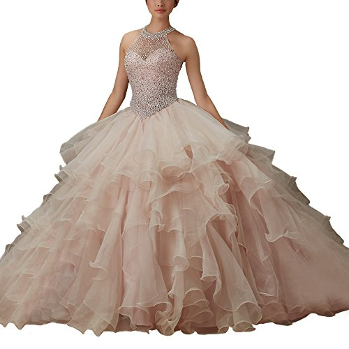 Women's Lace Up Halter Puffy Prom Ball Gown Quinceanera ...