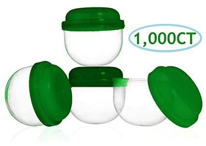 25 2 INCH EMPTY ACORN CAPSULES WITH 25 LIDS IN A VARIETY OF COLORS
