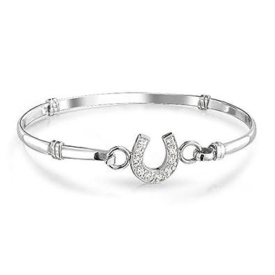 Horseshoe Saddle Bracelet White Birthstone Bangle Bracelet NwDCuDb