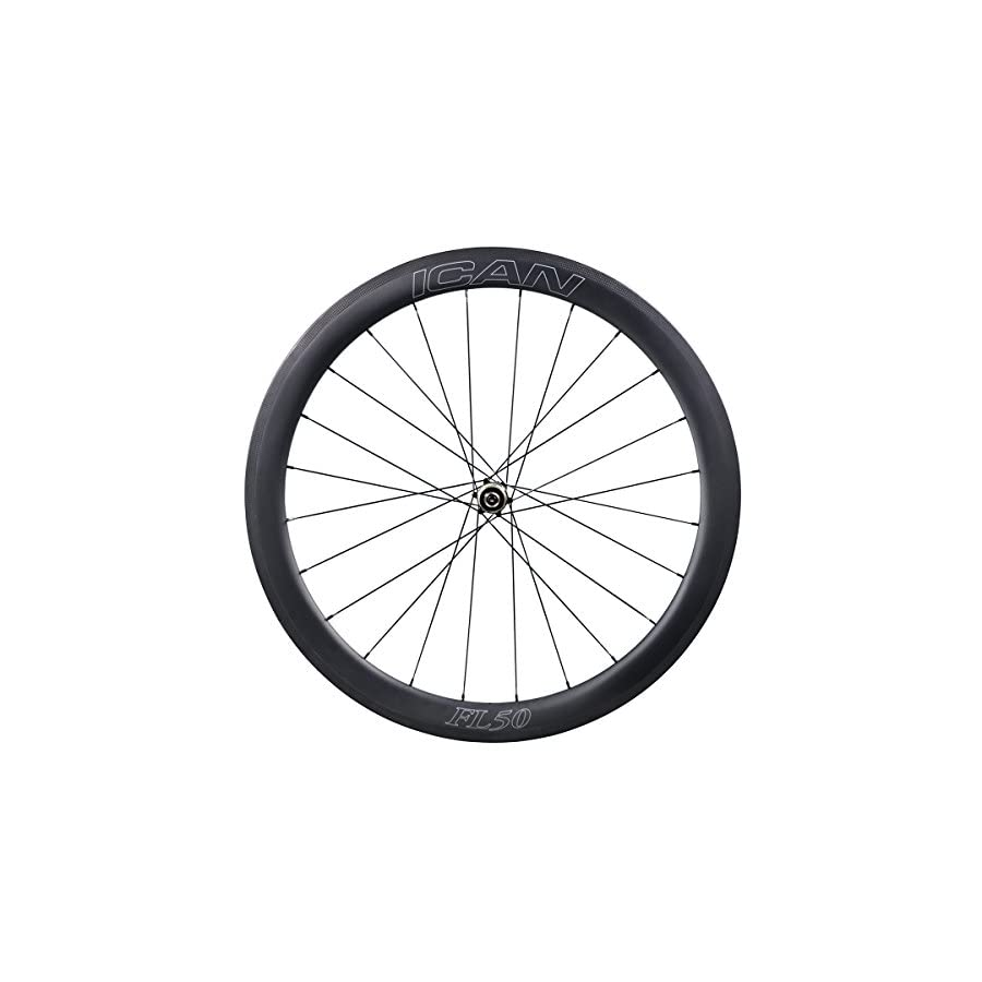 ICAN FL50 Carbon Road Bicycle Wheelset Clincher Tubeless Ready Rim Novatec AS511SB/FS522SB Hub Sapim CX Ray Spokes Only 1470g (Fast & Light Series)
