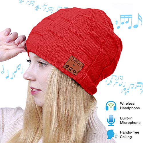 Price comparison product image Fairwin Bluetooth Beanie Hat, Smart Wireless Music Beanie for Men and Women, Cashmere Warm Ski Music Hat Knit Gift Cap with Earphones for Winter Cycling Running Skating Hiking (Red)