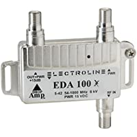 Electroline EDA100 Compact Bi-Directional Signal Booster 1-Port Cable Modem TV HDTV Amplifier with Passive Return