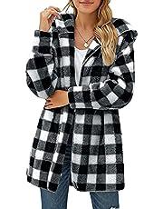 QiFei Dames fleece hoodie pocket check cardigan jas geruite jas zakken knopen lange mouwen oversized blouse jas hemdjas houthakkersjas met borstzakken mode boyfreind jeansjas