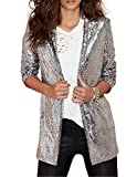 HaoDuoYi Womens Casual Silver Sequins Pocket Side Coat Jacket(L,Silver)