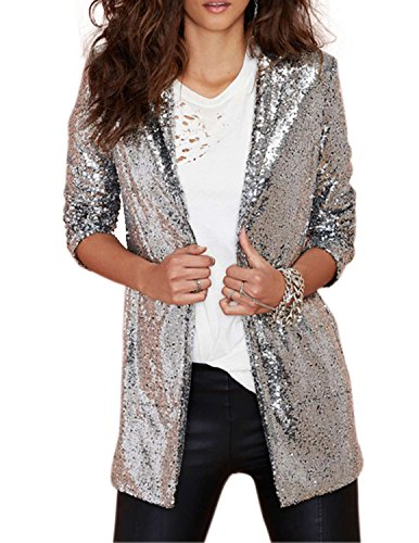 HaoDuoYi Womens Casual Silver Sequins Pocket Side Coat Jacket(M,Silver)