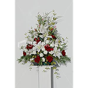 Red & Ivory Rose, Lily & Alstroemeria Wedding Church Display 99