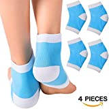 Moisturizing Cracked Heel Socks Gel Heel Sleeves - Treat Dry Heels Fast Pain Relief from Cracking Feet with these Gel Heel Protector Pads for Women and Men by EHOLIFE(blue)