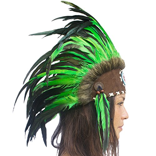 Unique Feather Headdress- Native American Indian Inspired- Handmade by Artisan Halloween Costume for Men Women with Real Feathers - Green with (Aztec Tribe Costume)