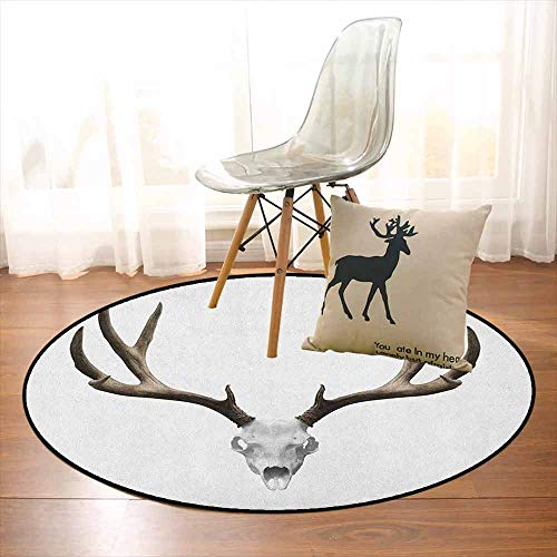 Antlers Better Protection A Deer Skull Skeleton Head Bone Halloween Weathered Hunter Collection Kid Game Carpet D39.7 Inch Warm Taupe Pale Grey -