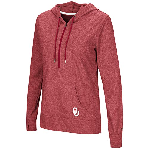 Colosseum Jacket - Colosseum NCAA Women's -Sugar- Casual Waffle Knit 1/2 Zip Hoodie Pullover-Oklahoma Sooners-Heathered Crimson-Large
