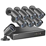 ANNKE 8CH Full 1080N Security Camera System CCTV DVR and (8) 720P Night Vision Surveillance Cameras, IP66 Weatherproof, QR Code Scan and Remote Access -No HDD